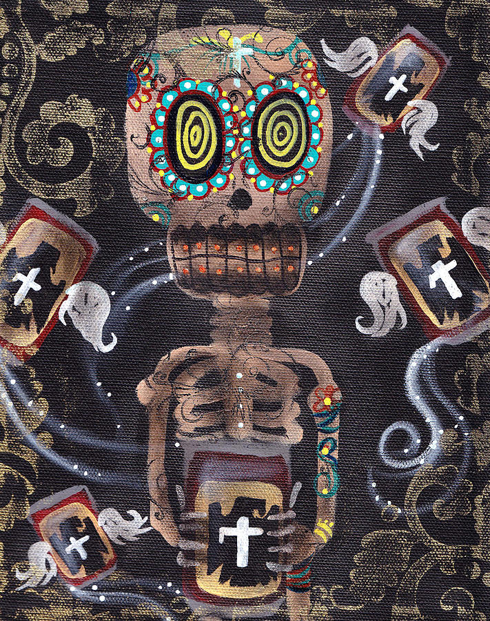 Day Of The Dead Painting - Mi Cerveza by  Abril Andrade Griffith