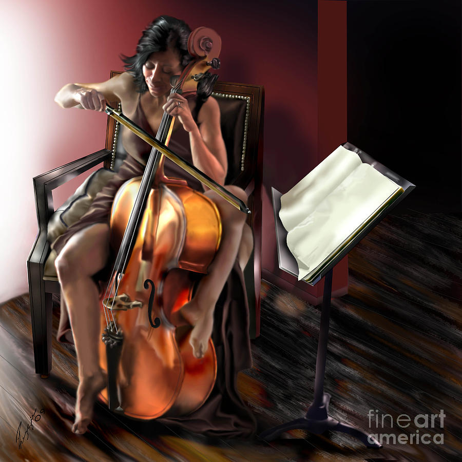 Cello Painting - Mi Chica - Solace In The Unseen by Reggie Duffie
