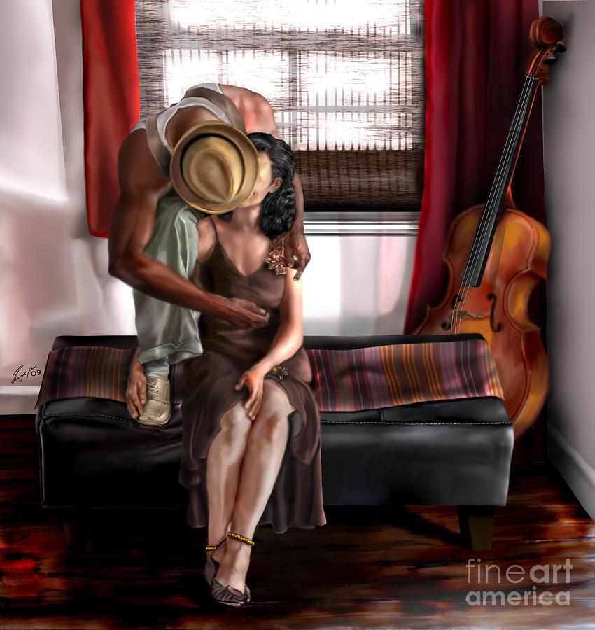 Cello Painting - Mi Chica-amo A Mi Esposita  by Reggie Duffie