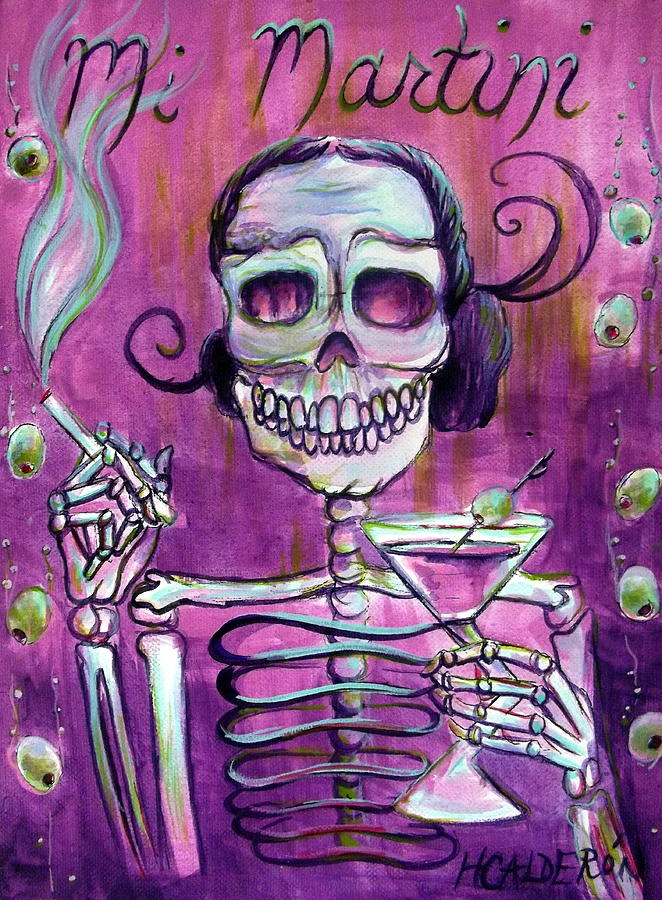 Day Of The Dead Painting - Mi Martini by Heather Calderon