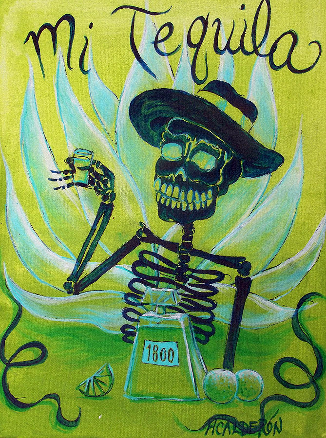 Day Of The Dead Painting - Mi Tequila by Heather Calderon
