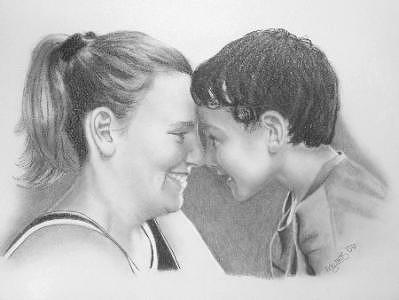 People Drawing - Mi Tia Mi Amiga by Wanda Edwards