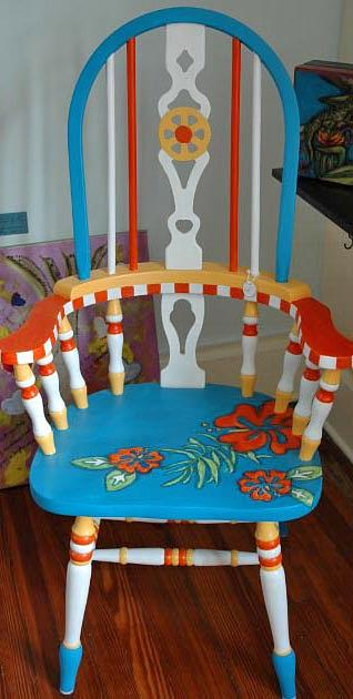 Hand Painted Mixed Media - Miami Beach Arm chair by Mickie Boothroyd