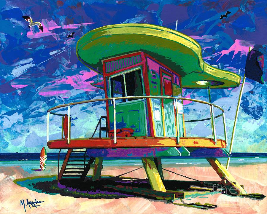Miami Beach Lifeguard Tower Painting By Maria Arango - Painting miami