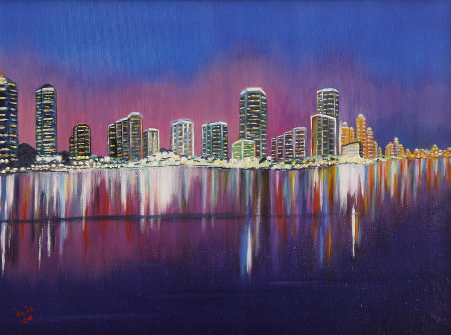 Miami Evening On The Bay Painting By Douglas Ann Slusher - Painting miami