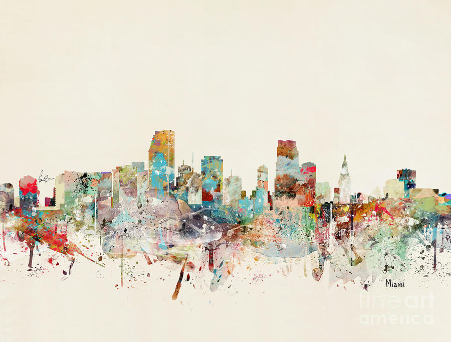 Miami Painting - Miami Florida City Skyline by Bri Buckley
