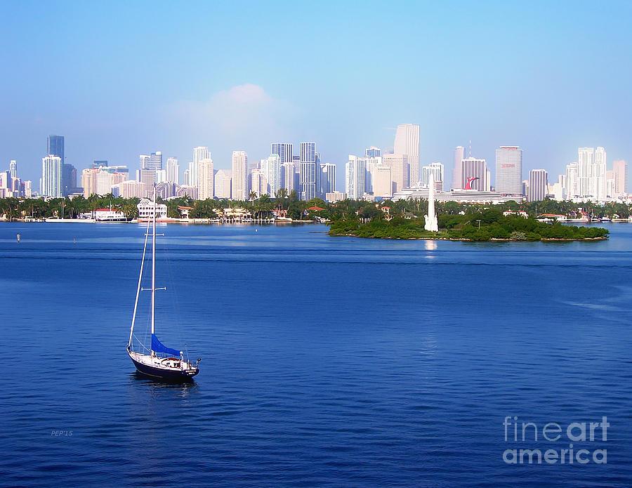 Florida Photograph - Miami Florida Skyline by Phil Perkins