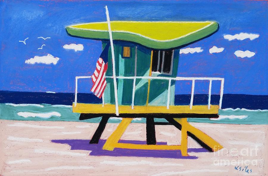 Miami Painting - Miami Lime Green Hut by Lesley Giles