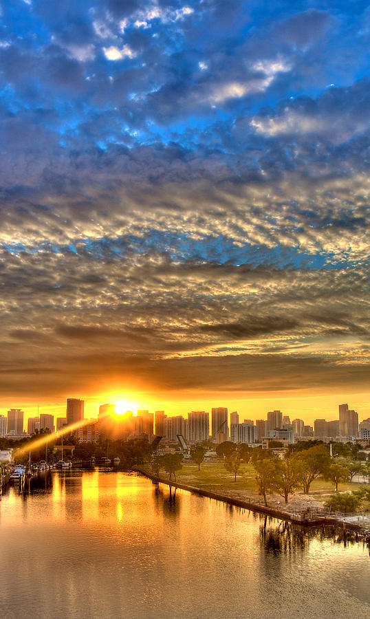 Sunrise Photograph - Miami River Sunrise by William Wetmore