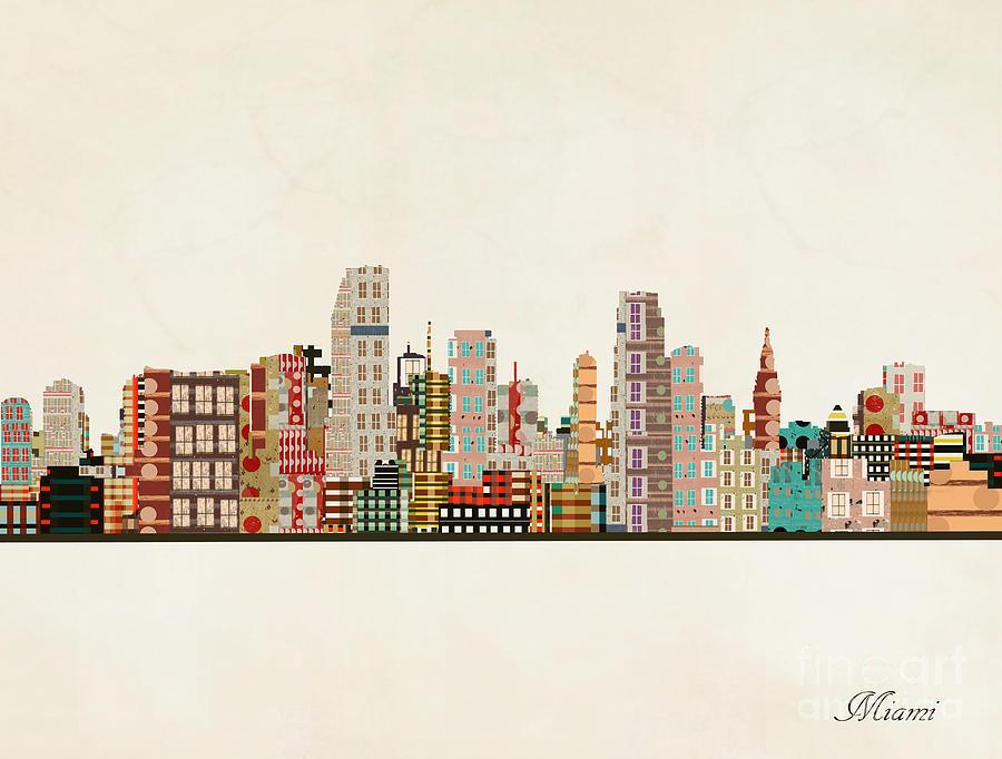 Miami Skyline Painting By Bri Buckley