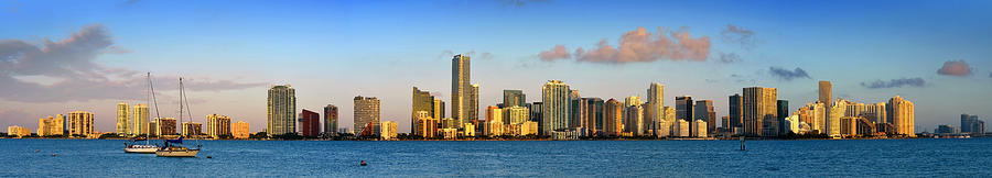 Miami Photograph - Miami Skyline In Morning Daytime Panorama by Jon Holiday