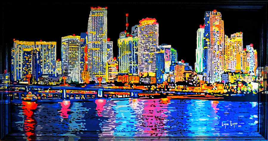 Miami Skyline Painting By Luque Luque - Painting miami