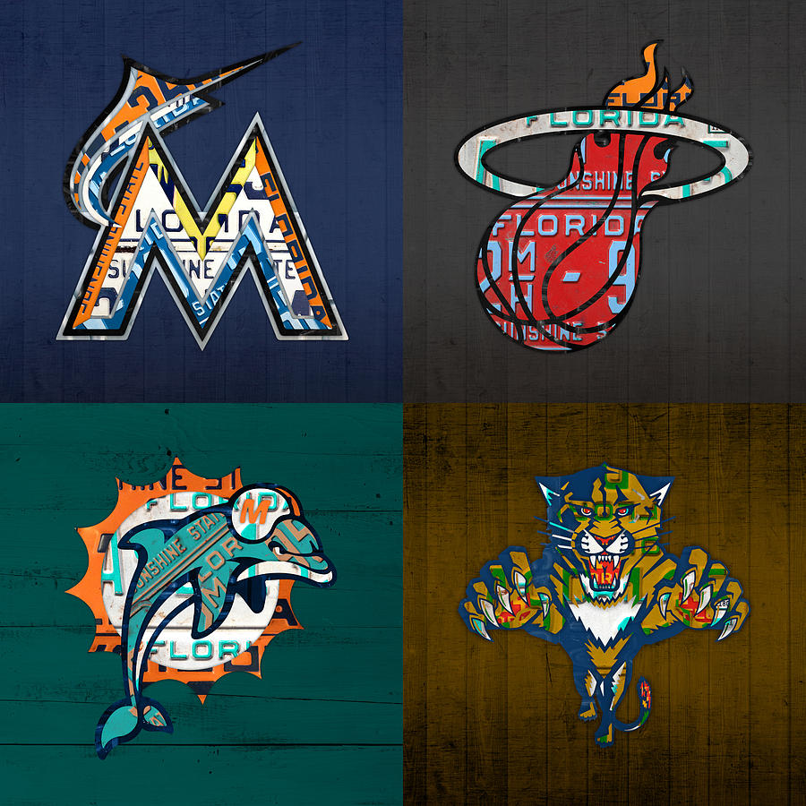 Miami Mixed Media - Miami Sports Fan Recycled Vintage Florida License Plate Art Marlins Heat Dolphins Panthers by Design Turnpike