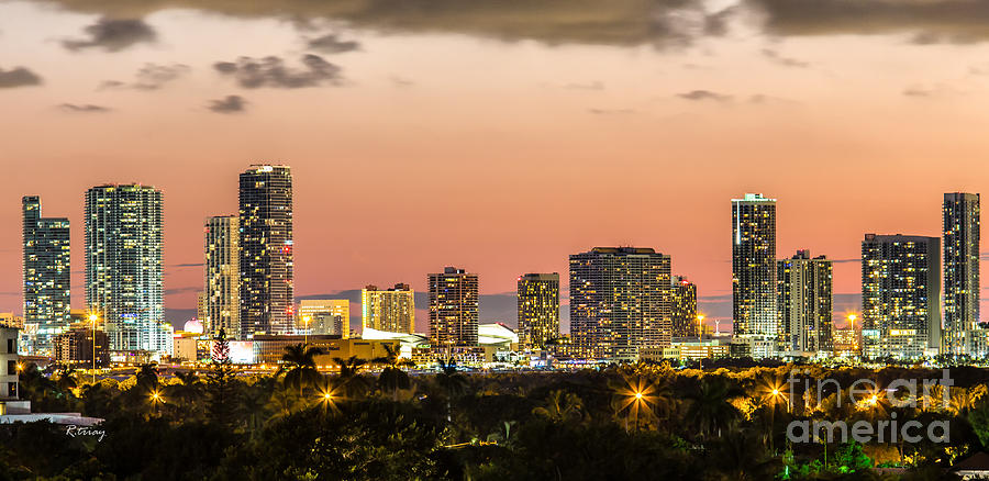 Miami Sunset Skyline Photograph By Rene Triay Photography