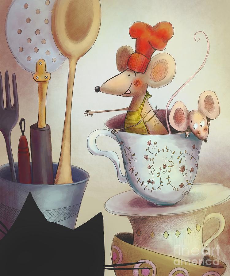Mice In The Kitchen Digital Art by Carina Povarchik