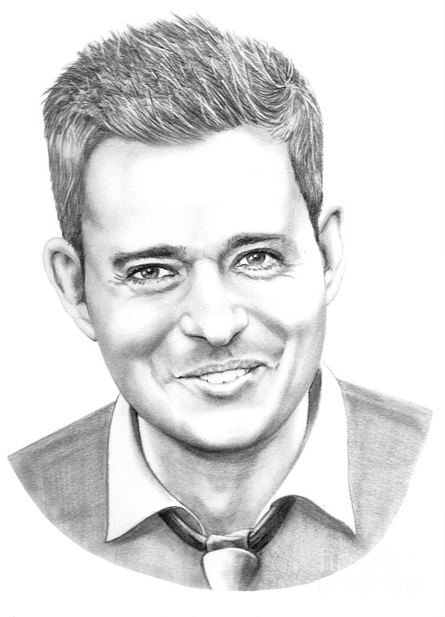 Pencil Drawing - Michael Buble by Murphy Elliott