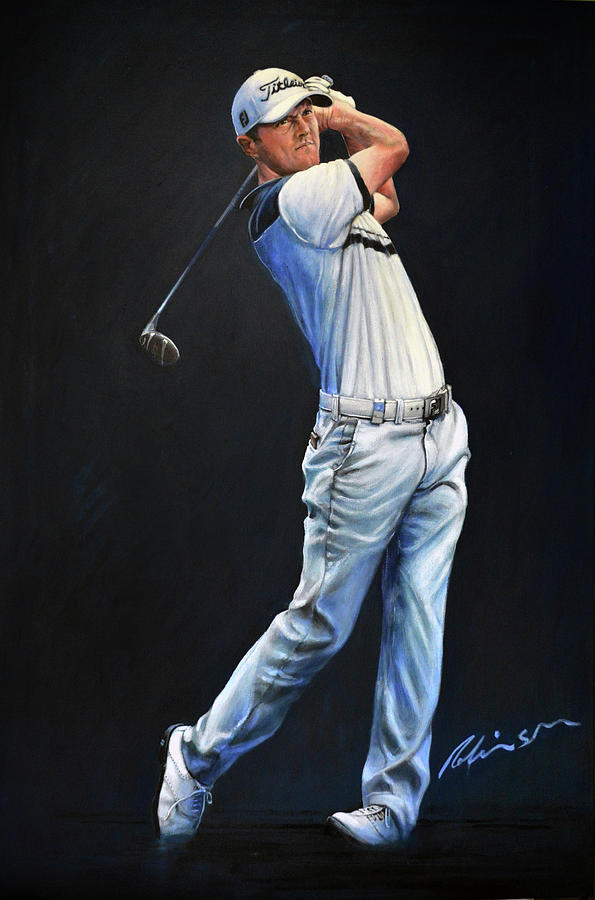 Golfers Painting - Michael Hoey Portrait by Mark Robinson