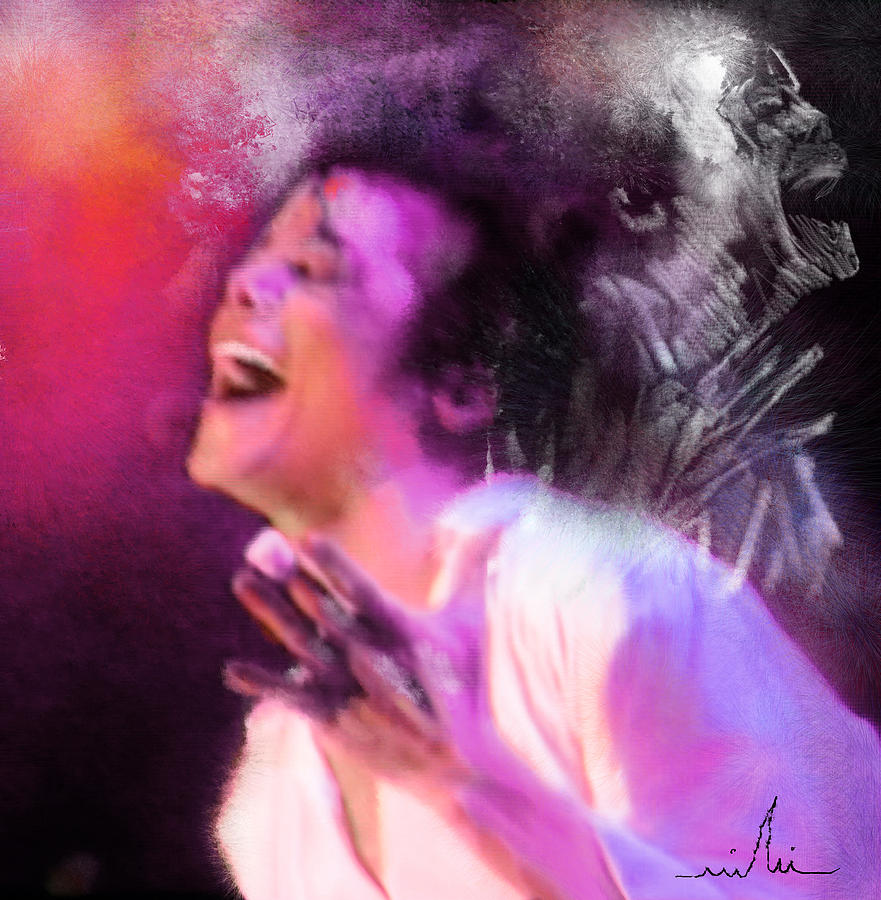 Music Painting - Michael Jackson 11 by Miki De Goodaboom