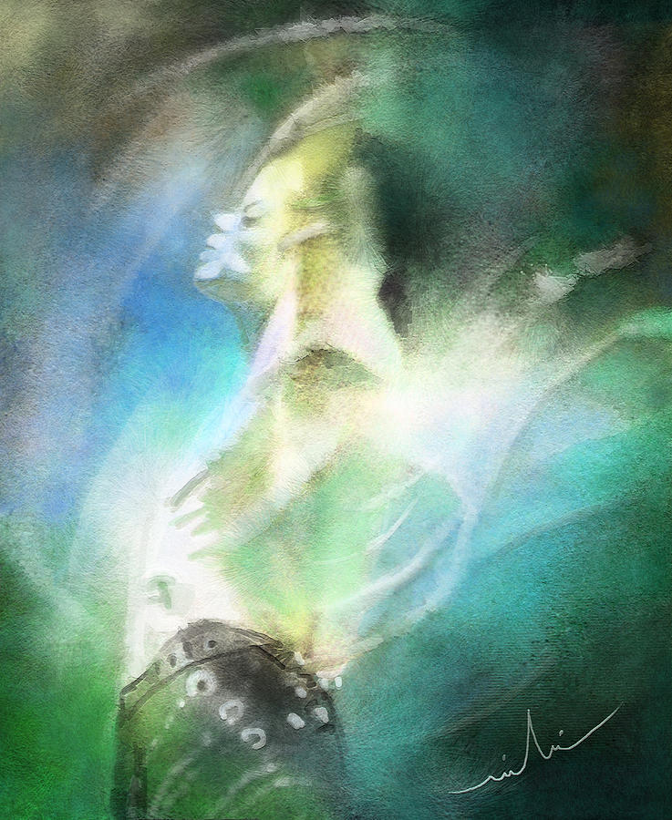 Music Painting - Michael Jackson 15 by Miki De Goodaboom