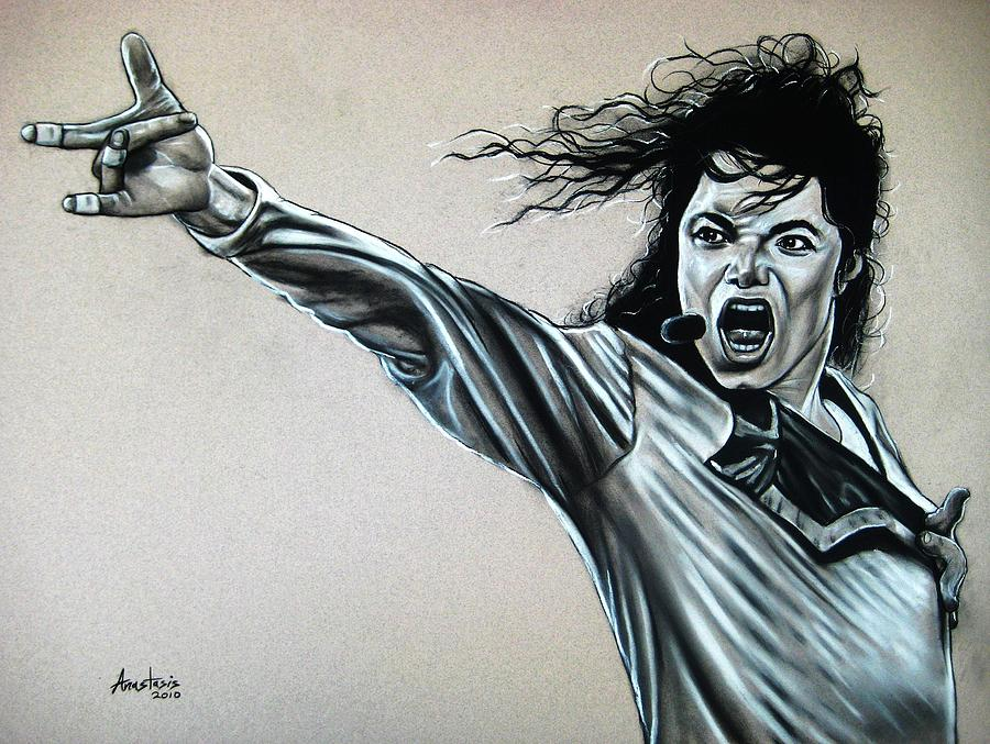 Charcoal Painting - Michael Jackson by Anastasis  Anastasi