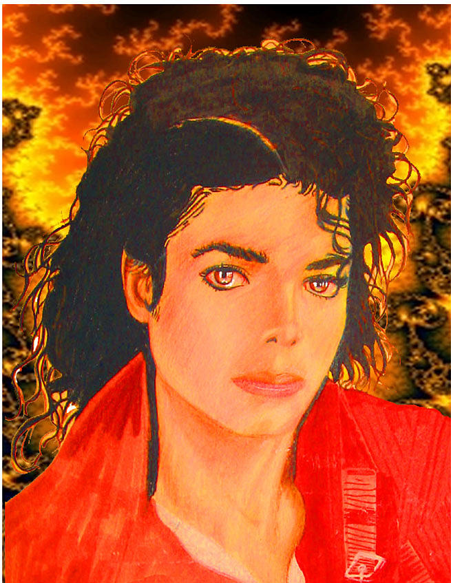 Michael Jackson Drawing - Michael Jackson In The Red by Michael Vanier