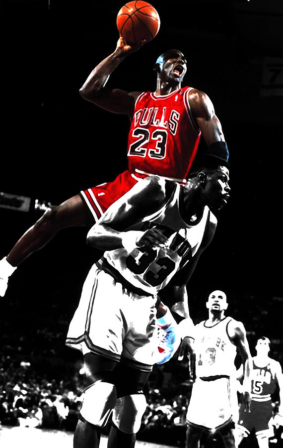c9a4335aaa15 Michael Jordan Mixed Media - Michael Jordan Piggy Back Ride Slam Dunk by Brian  Reaves