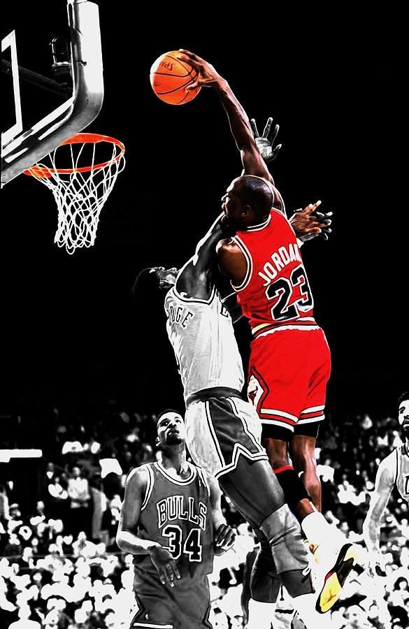 Michael Jordan Mixed Media - Michael Jordan Power Slam by Brian Reaves