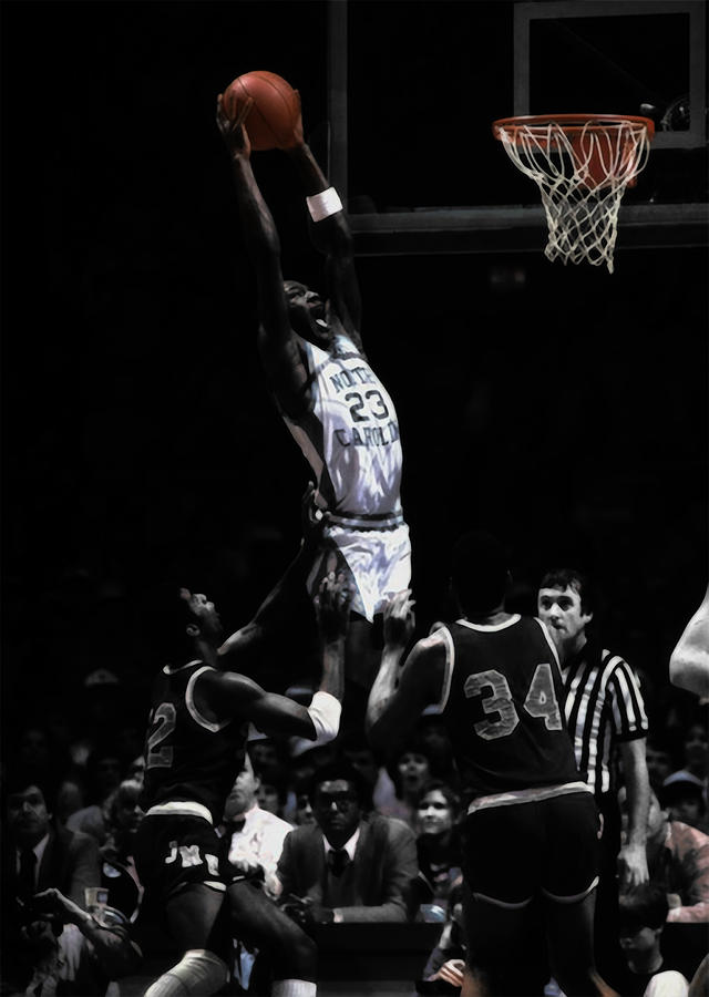 5242674547aa Michael Jordan Mixed Media - Michael Jordan Rises As A Young Unc Tarheel by Brian  Reaves