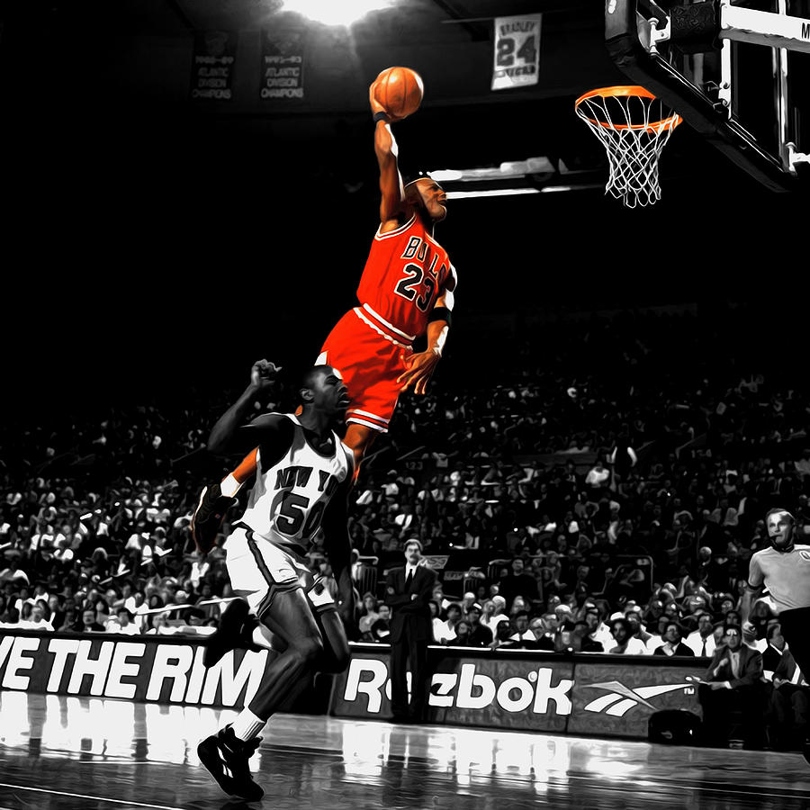 Michael Jordan Suspended In Air Mixed Media By Brian Reaves