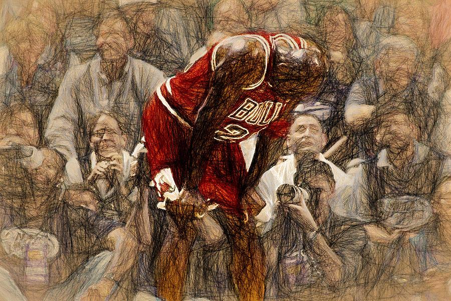 Michael Jordan Painting - Michael Jordan The Flu Game by John Farr