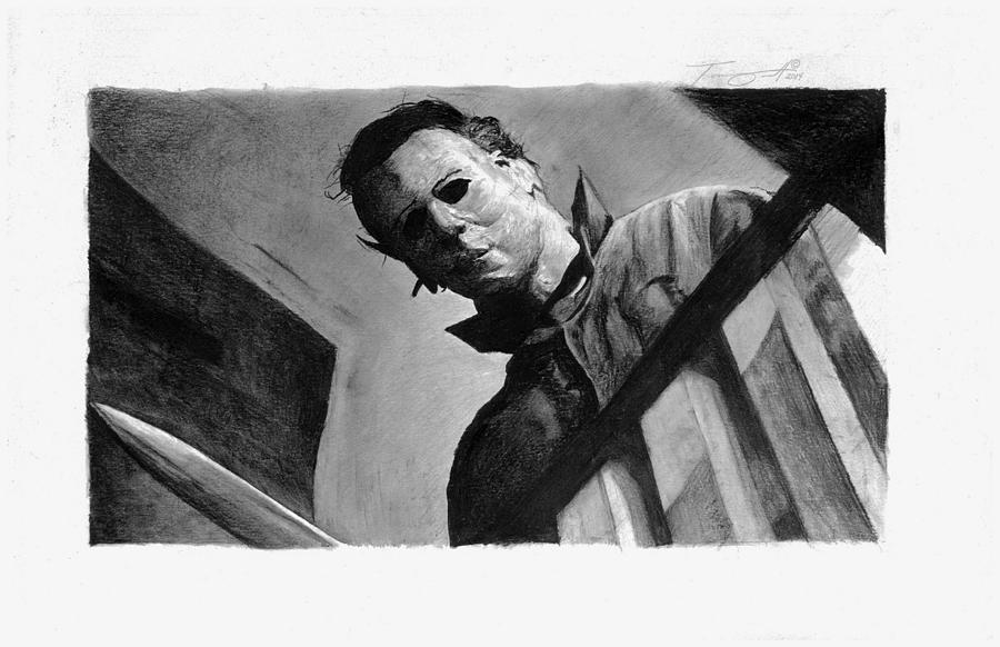 michael myers drawing drawing by tony orcutt