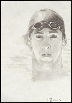 Sports Drawing - Michael Phelps by Scott  Lindstrom
