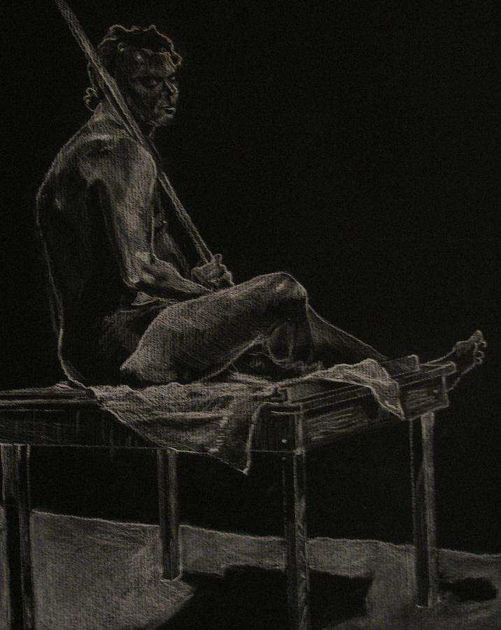 Nude Drawing - Michael Seated by Sara  Elizabeth Gregory