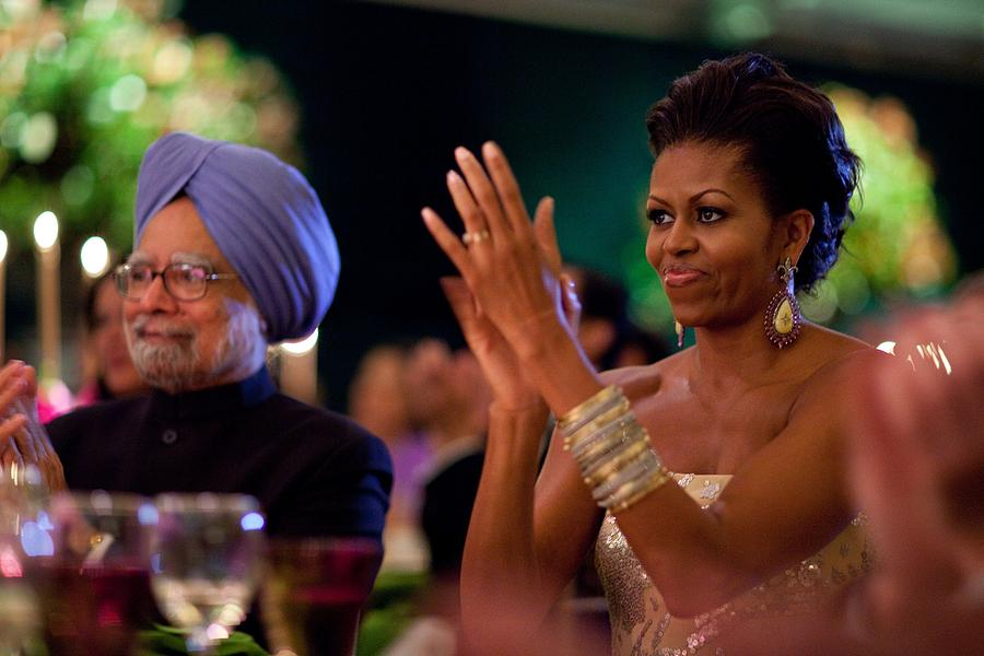 History Photograph - Michelle Obama Applauds by Everett