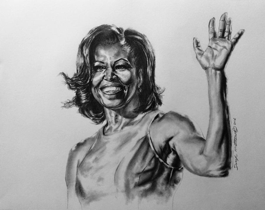 Portrait painting michelle obama by darryl matthews