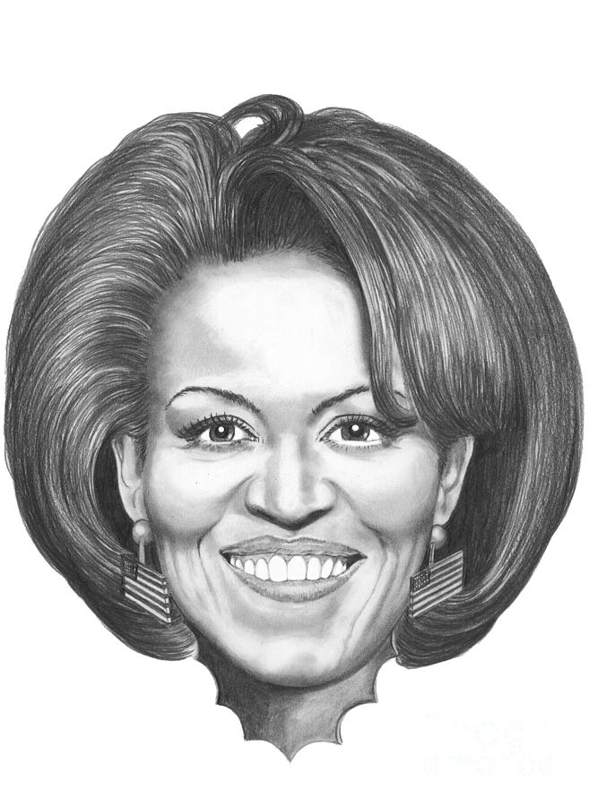 Drawing Drawing - Michelle Obama by Murphy Elliott