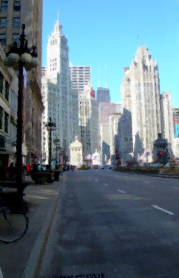 Chicago Digital Art - Michigan Ave tall by Anita Burgermeister