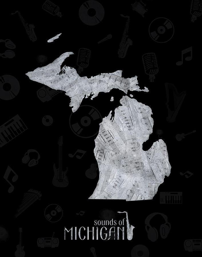 Michigan Map Music Notes 2 Digital Art