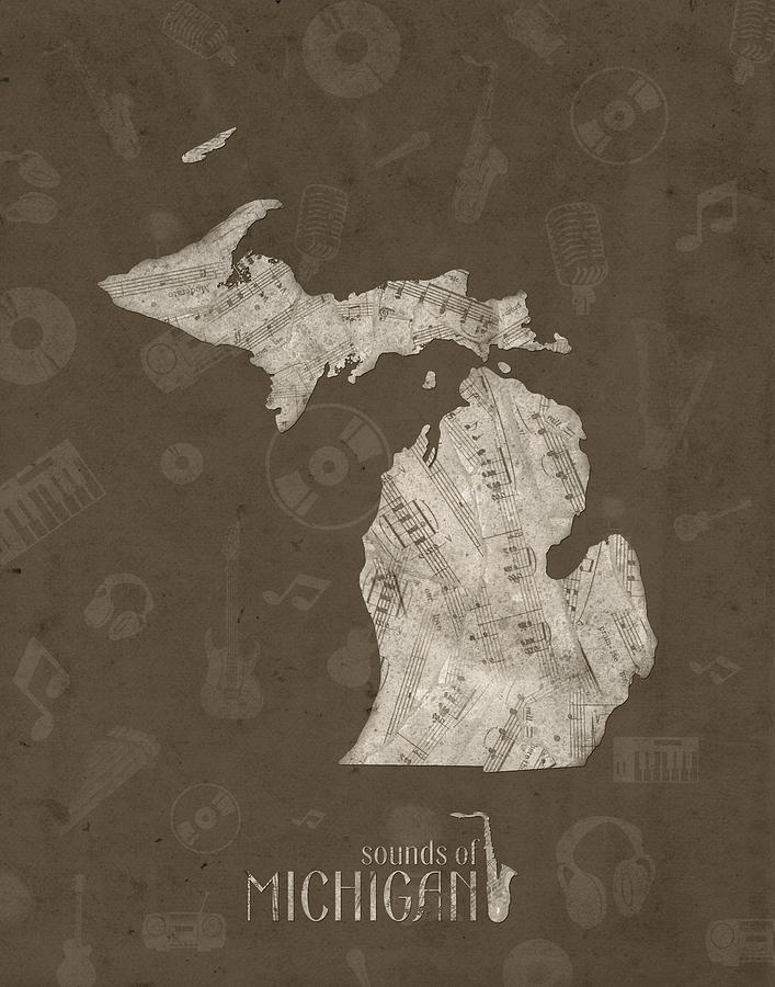 Michigan Map Music Notes 3 Digital Art