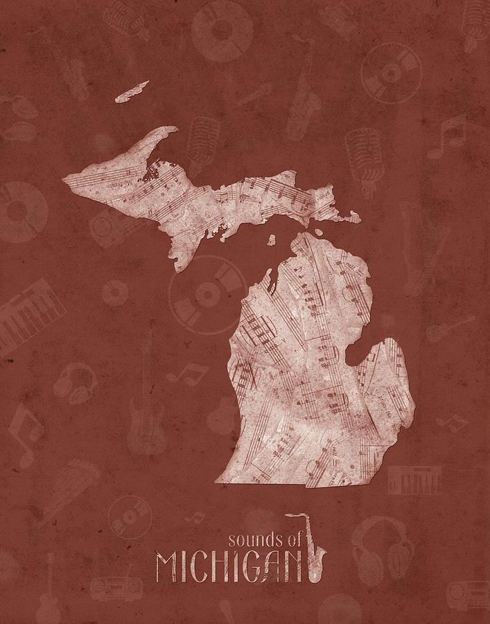Michigan Map Music Notes 4 Digital Art