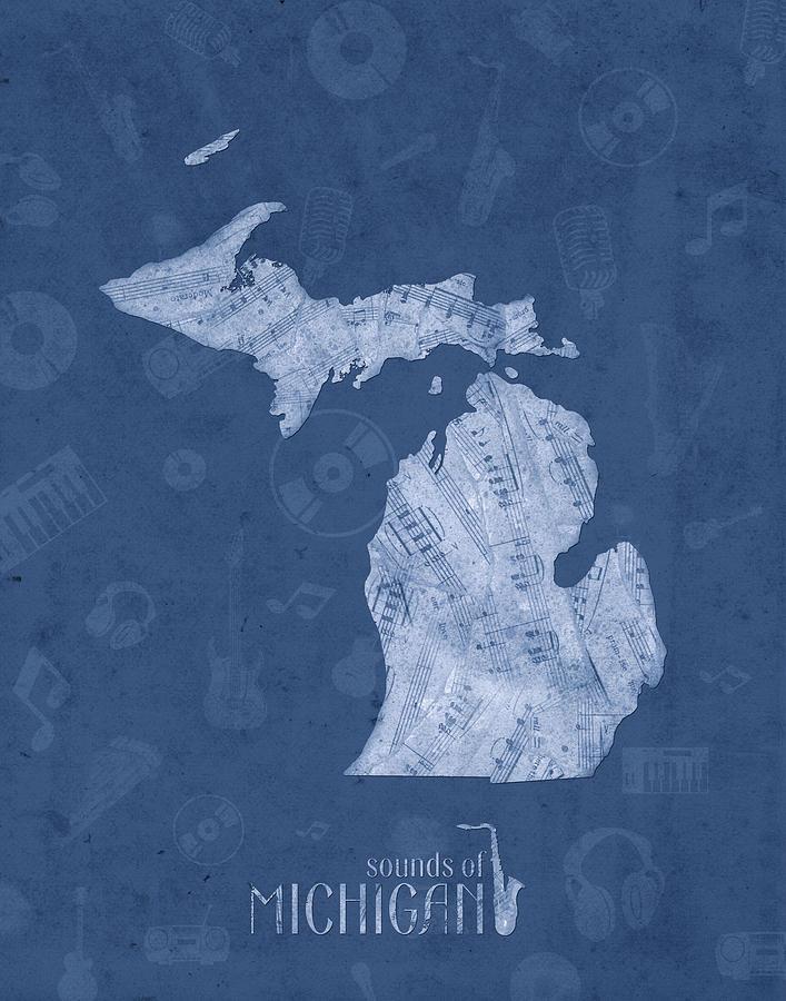 Michigan Map Music Notes 5 Digital Art