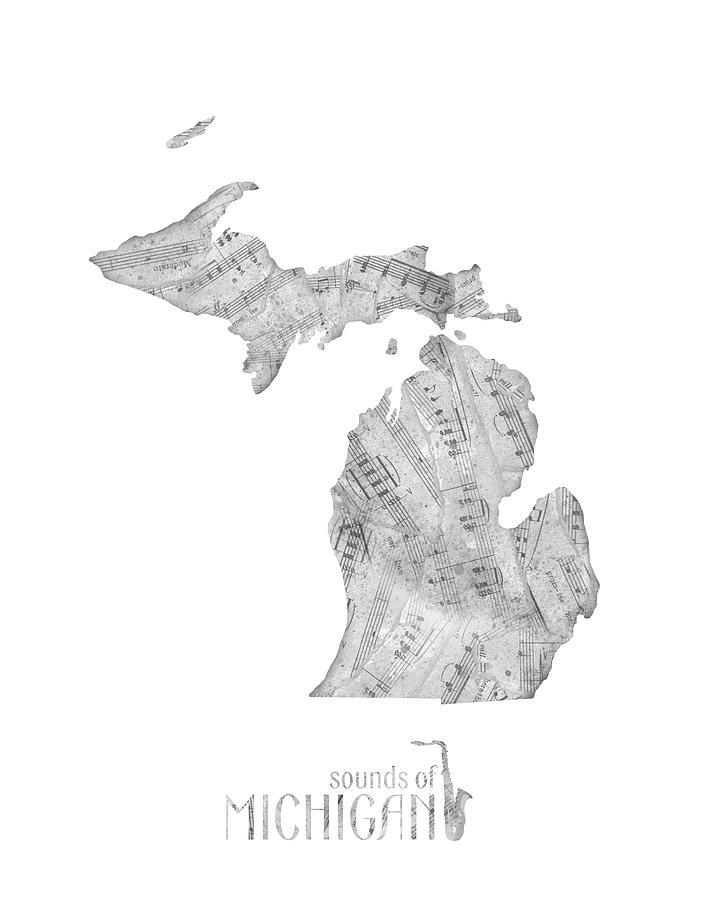 Michigan Map Music Notes Digital Art