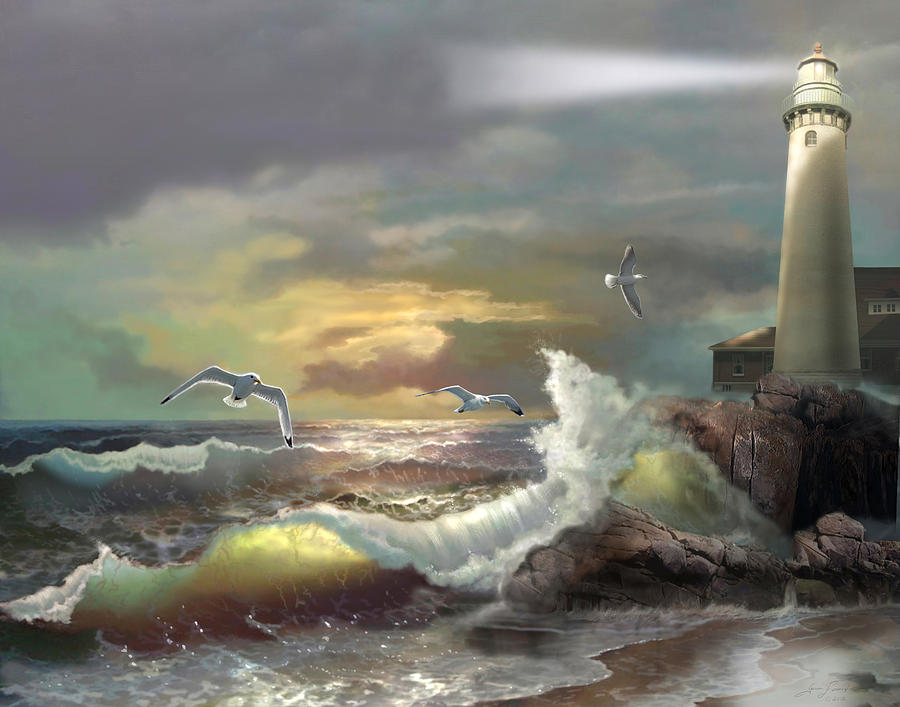 Ocean Painting - Michigan Seul Choix Point Lighthouse With An Angry Sea by Regina Femrite