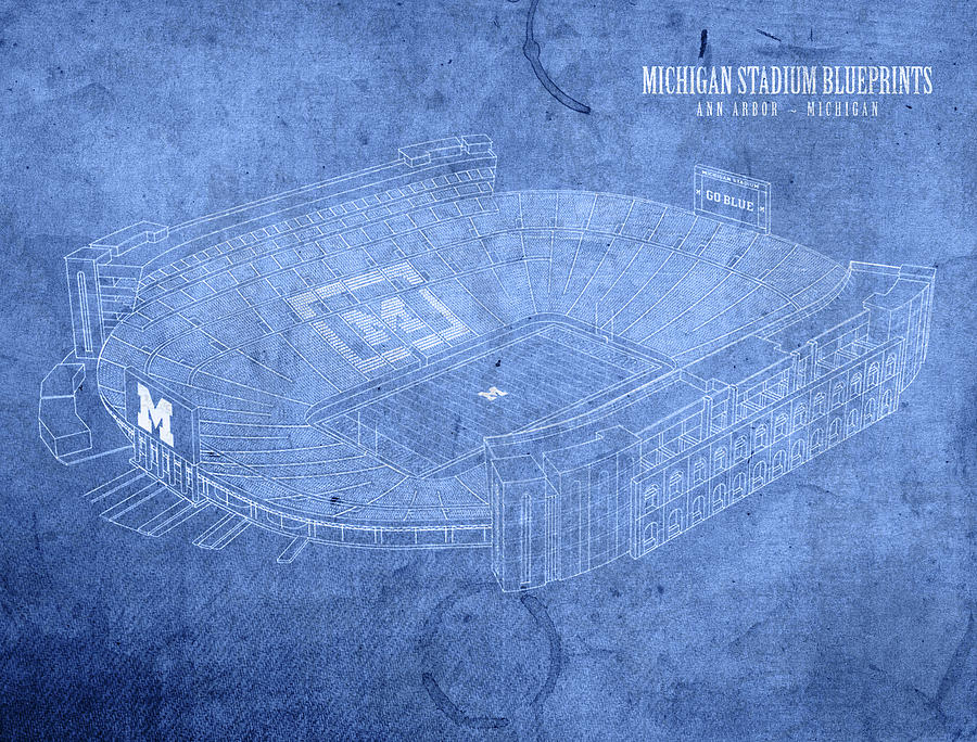Michigan stadium wolverines ann arbor football field big house michigan stadium mixed media michigan stadium wolverines ann arbor football field big house blueprints by malvernweather Image collections