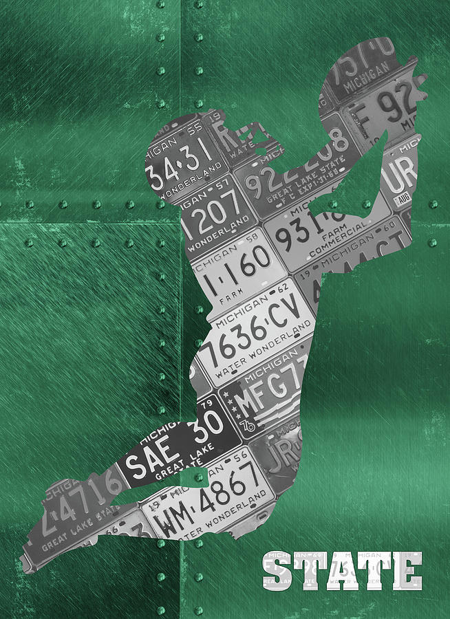 Michigan State Mixed Media - Michigan State Spartans Receiver Recycled Michigan License Plate Art by Design Turnpike