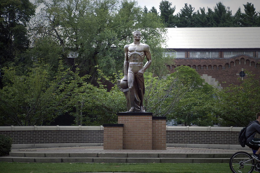 michigan state university spartan statue horizontal photograph by