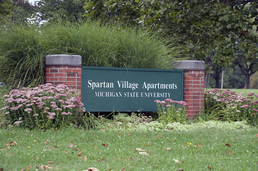michigan state university spartan village signage photograph by