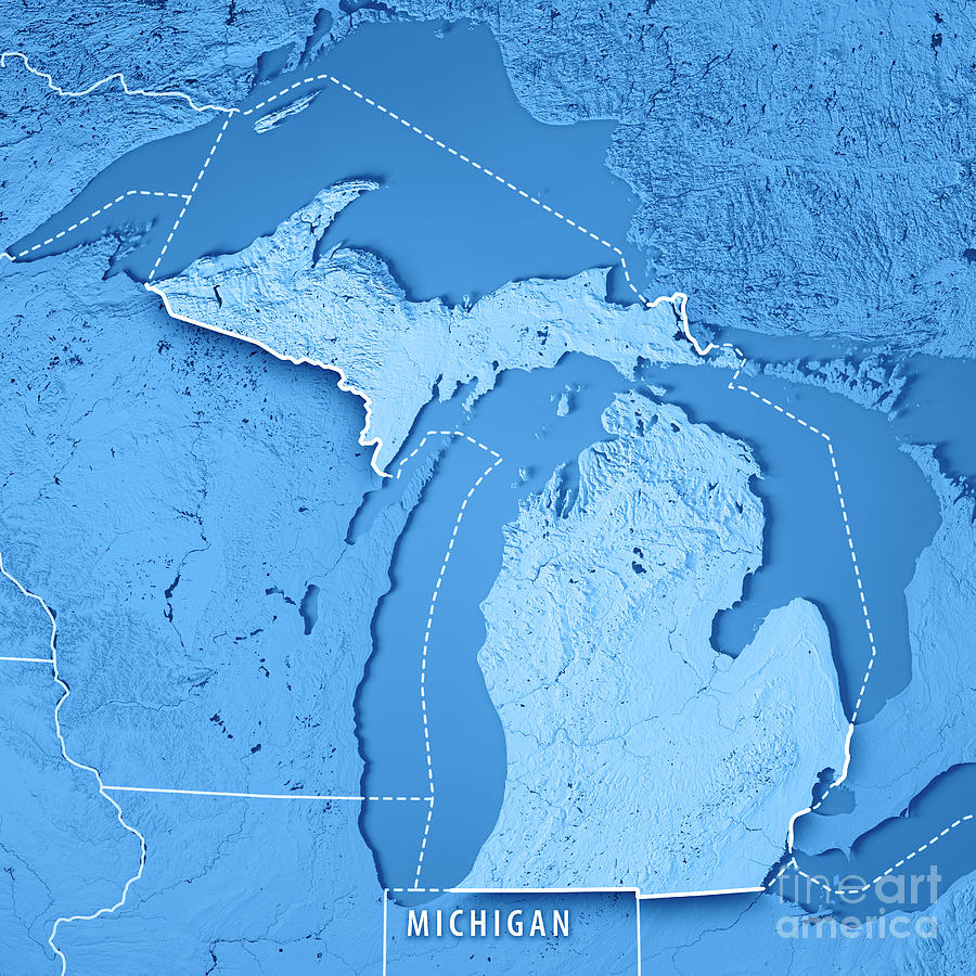 Michigan State Usa 3d Render Topographic Map Blue Border