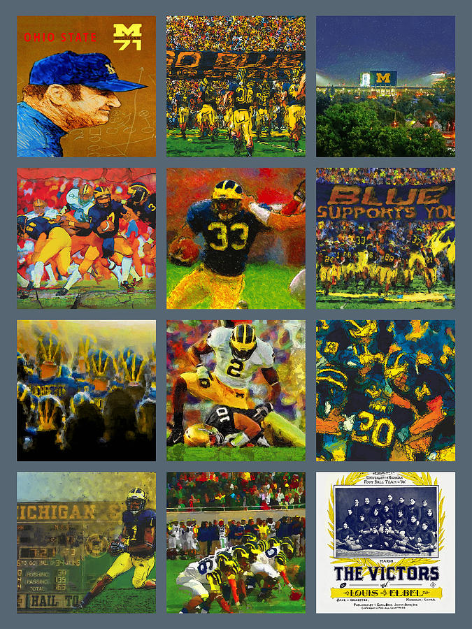 Michigan Wolverines Football Collage Painting By John Farr
