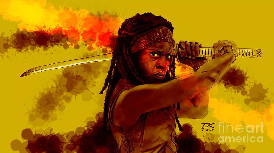 Michonne Digital Art - Michonne by David Kraig